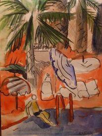 Schwimmbad, Palmen, Malerei,