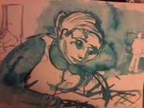 Schule, Gedächtnismalerei, Aquarell