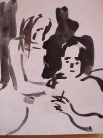 Schlaf, Mann, Frau, Zeichnungen