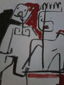 Mann, Frau, Sitzen, Malerei