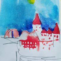 Aquarellmalerei, Skizze, Wasserfarben, Aquarell