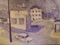 Straße, Kugelschreiber, Malerei