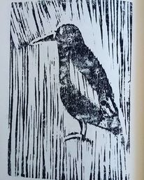 Vogel, Holzdruck, Druckgrafik,