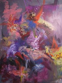 Bunt, Acrylmalerei, Abstrakt, Zufallstechnik
