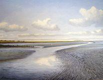 Abendstimmung, Nordsee, Ölmalerei, Ostfriesland