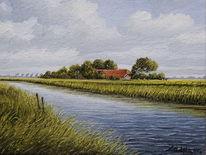 Wasser, Hof, Landschaft, Ostfriesland