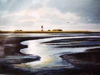 Weite, Landschaft, Ostfriesland, Ölmalerei