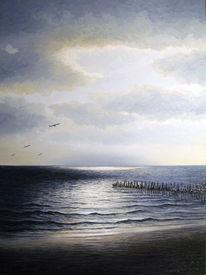 Nordsee, Ölmalerei, Ostfriesland, Abendstimmung
