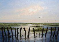 Nordsee, Ölmalerei, Abendstimmung, Ostfriesland