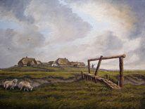 Landschaft, Ostfriesland, Abendstimmung, Ölmalerei
