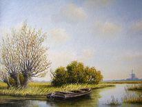 Landschaft, Ölmalerei, Ostfriesland, Weite