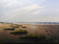 Landschaft, Watt, Abendstimmung, Ölmalerei