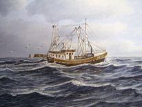 Malerei, Nordsee, Kutter