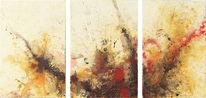 Explosion, Abstrakt, Tryptichon, Malerei