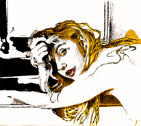 Gelb, Zeichnung, Fenster, Portrait