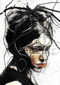 Missmutig, Portrait, Kuss, Strich