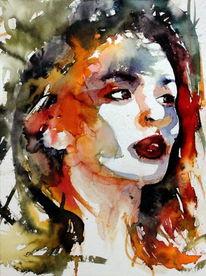Blick, Ausdruck, Frau, Farben