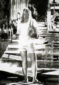 Schwarz weiß, Monochrom, Mädchen, Aquarellmalerei