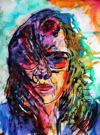 Portrait, Frau, Farben, Brille