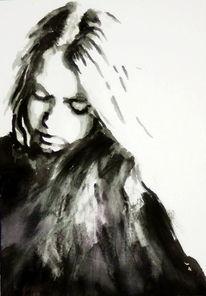 Monochrom, Ausdruck, Frau, Gesicht