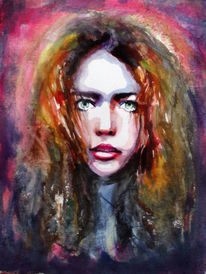 Frau, Haare, Blick, Aquarellmalerei
