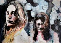 Frau, Aquarellmalerei, Blick, Menschen