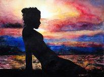 Sonnenuntergang, Strand, Aquarellmalerei, Frau