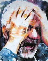 Portrait, Mann, Schrei, Verzweiflung