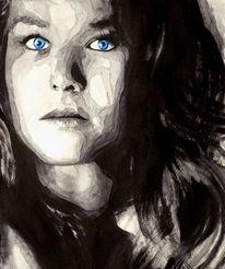 Augen, Aquarellmalerei, Blau, Monochrom