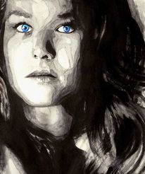 Blau, Monochrom, Portrait, Blick