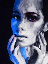 Blick, Aquarellmalerei, Ausdruck, Frau