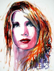 Aquarellmalerei, Augen, Portrait, Blick