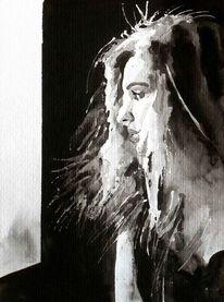 Aquarellmalerei, Schwarz weiß, Frau, Monochrom