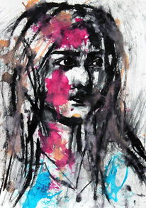 Frau, Ausdruck, Gesicht, Skizze