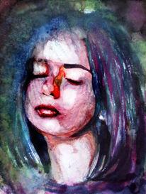 Mädchen, Farben, Gesicht, Menschen