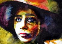 Farben, Frau, Hut, Blick