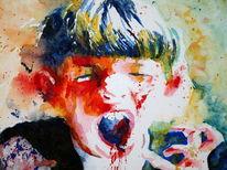 Junge, Aquarellmalerei, Kind, Portrait
