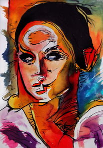 Portrait, Farben, Menschen, Frau