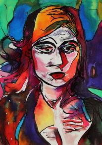 Frau, Farben, Abstrakt, Ausdruck