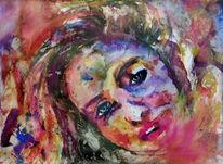 Portrait, Blick, Frau, Farben