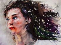 Frau, Aquarellmalerei, Haare, Portrait