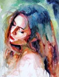 Ausdruck, Farben, Haare, Frau