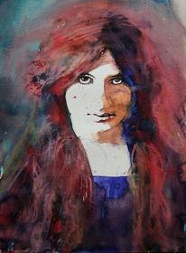 Portrait, Ausdruck, Frau, Haare