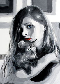 Haare, Schwarz weiß, Frau, Katze