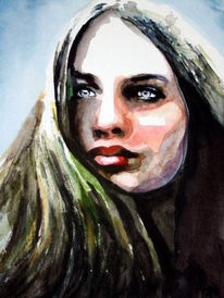 Portrait, Frau, Blick, Menschen