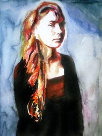 Portrait, Farben, Frau, Gesicht