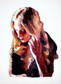 Portrait, Blick, Ausdruck, Aquarellmalerei