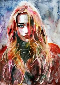 Frau, Ausdruck, Menschen, Haare
