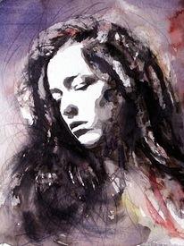 Portrait, Frau, Gesicht, Haare