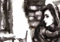 Monochrom, Frau, Schwarz weiß, Aquarell